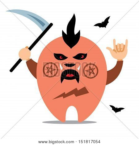 Creature with scythe. Isolated on a white Background