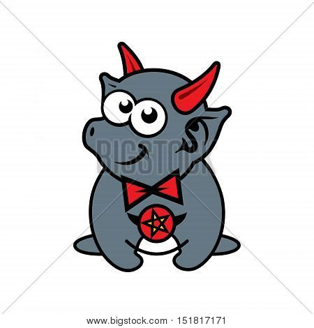 Demon with red horns. Isolated on a white Background