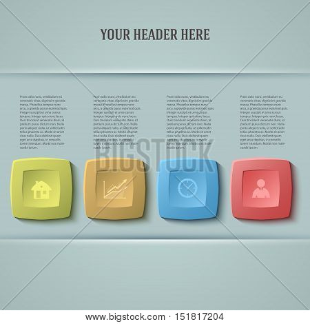 Design business presentation template. Vector illustration for technology infographics number banners charts and graphs or  background graphs and tables. EPS 10