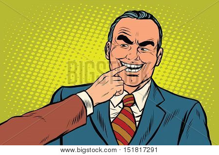 Boss bites the finger, pop art retro vector illustration