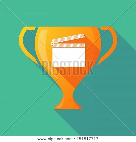 Long Shadow Gold Award Cup With A Clapperboard