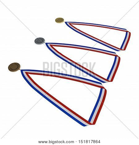 Metal medals set with tricolor ribbon on white background. 3D illustration