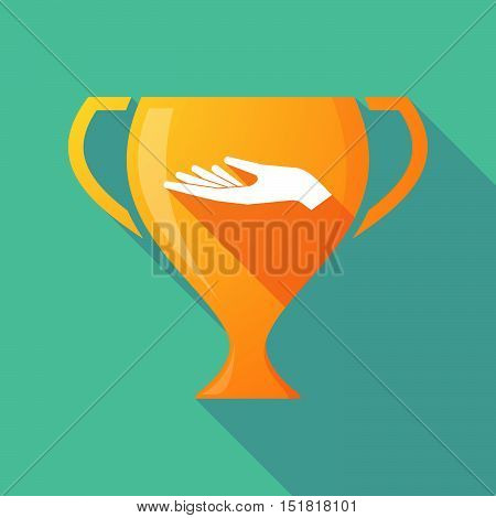 Long Shadow Gold Award Cup With A Hand Offering