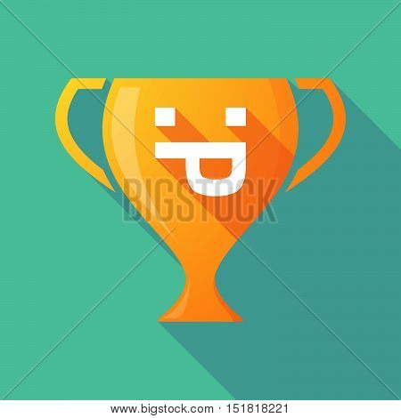 Long Shadow Gold Award Cup With A Sticking Out Tongue Text Face