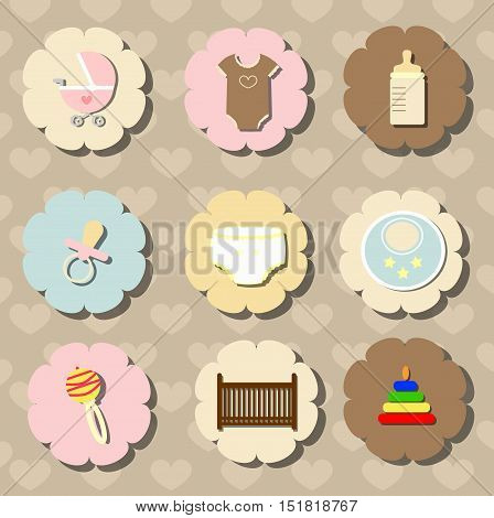 collection of items to care for a newborn baby. a set of objects stickers labels for decoration of children's products or postcard to congratulations. baby vector illustration