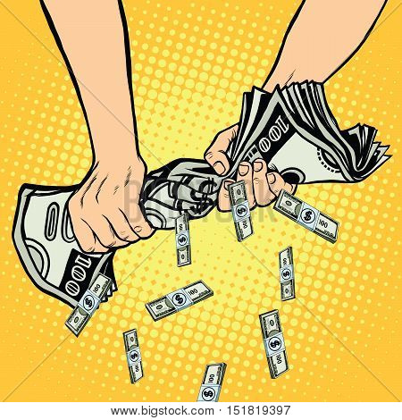 Financial profit, hands squeeze out of the money dollars, pop art retro vector illustration