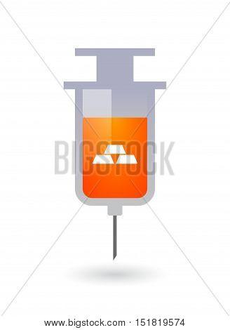 Isolated  Syringe With Three Gold Bullions