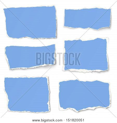 Set of light blue paper different shapes vector tears isolated on white background