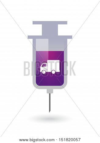 Isolated  Syringe With A  Delivery Truck