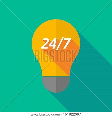 Long Shadow Light Bulb Icon With    The Text 24/7