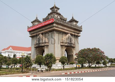 VIENTIANE, LAOS - FEBRUARY 20, 2016:  Arch of triumph Patuxai, one of the sights in Vientiane on February 20, 2016 in Laos, Asia
