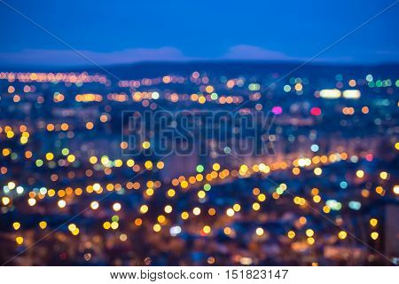 abstract circular bokeh city lights with horizon colorful background
