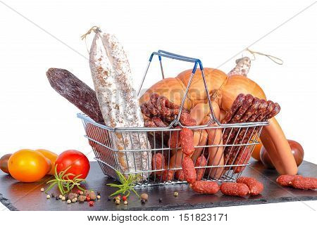 Assortment Of Tasty Delicious Dried And Boiled Sausages, Tomatoes In Shopping Food Basket On Slate S