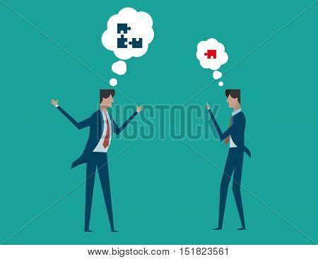 Businessman Constructive Dialog. Concept Business Illustration. Vector Flat
