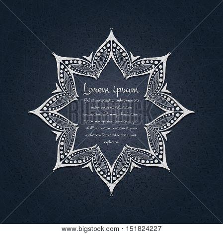 Beautiful circular ornament. Mandala. Vintage decorative elements. Islam, Arabic, Indian, ottoman motifs. Set of beautiful ethnic, oriental ornaments. Stylized flowers. Decorative frame for text.