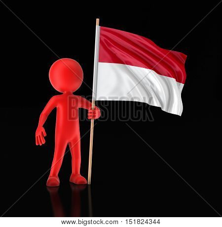 3D Illustration. Man and Indonesian flag. Image with clipping path