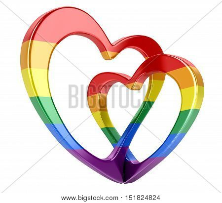 3D Illustration. Two bound color hearts. Image with clipping path