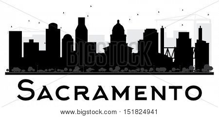 Sacramento City skyline black and white silhouette. Simple flat concept for tourism presentation, banner, placard or web site. Business travel concept. Cityscape with landmarks