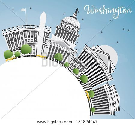 Washington DC Skyline with Gray Buildings and Copy Space. Business Travel and Tourism Concept with Historic Architecture. Image for Presentation Banner Placard and Web Site.