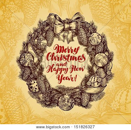 Xmas wreath vintage. Merry Christmas, Happy New Year. Vector illustration