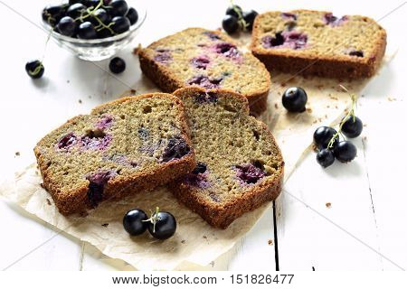Homemade wholewheat cake with blackcurrant, selective focus