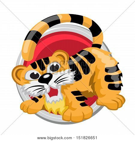 Tiger. Orient horoscope sign isolated in circle. Chinese symbols. Zodiac.
