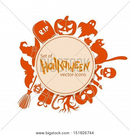 Circle shape template with Halloween  icons for packaging, cards, posters, menu. Vector stock illustration.