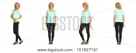 Full Length Portrait Of Beautiful Blonde In Turquoise Shirt