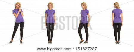 Full Length Portrait Of Beautiful Blonde In Lilac Shirt