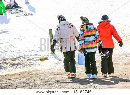 Gerardmer, France - Feb 19- Closeup On Group Of Skiers During The Annual Winter School Holiday On Fe