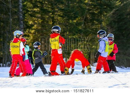 Gerardmer, France - Feb 19 - French Children Form Ski School Groups During The Annual Winter School