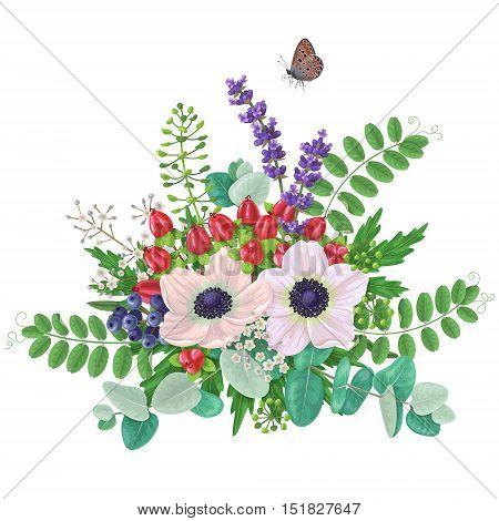 Bunch of flowers and flying butterfly isolated on white. Cream color anemone with floral elements and red berries. Romantic bouquet.