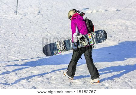 Gerardmer, France - Feb 20- Closeup On Snowborder During The Annual Winter School Holiday On Feb 20,
