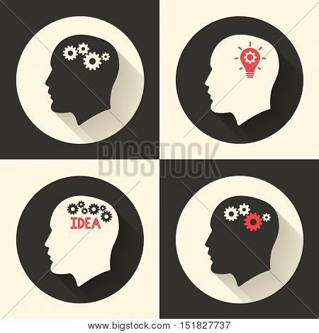 Head with brain and idea lamp bulb pictograph. Male human think symbols. Vector illustration