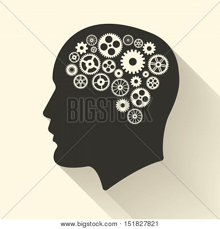 Head with brain pictograph. Male human think symbols. Vector illustration