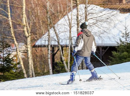 Gerardmer, France - Feb 16- Closeup On Beginner Skier During The Annual Winter School Holiday On Feb