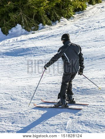 Gerardmer, France - Feb 17- Closeup On Beginner Skier During The Annual Winter School Holiday On Feb