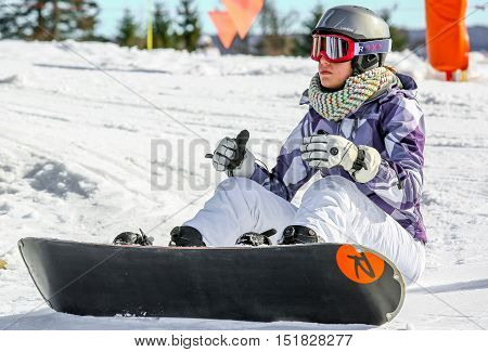 Gerardmer, France - Feb 17- Closeup On Snowborder During The Annual Winter School Holiday On Feb 17,