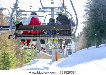 Gerardmer, France - Feb 19 - Skier Using The Ski Lift During The Annual Winter School Holiday On Feb