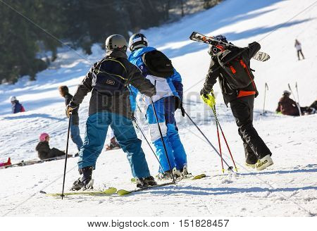 Gerardmer, France - Feb 17- Closeup On Group Of Skiers During The Annual Winter School Holiday On Fe