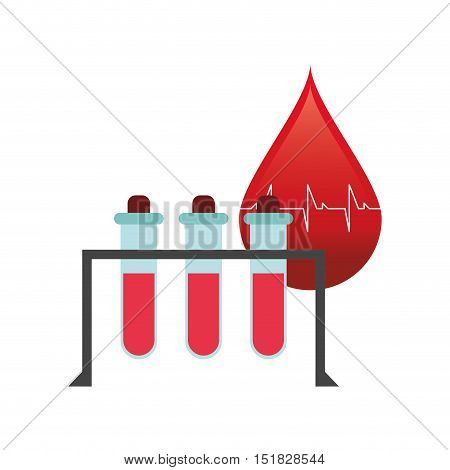 flat design blood drop cardiogram and test tubes icon vector illustration