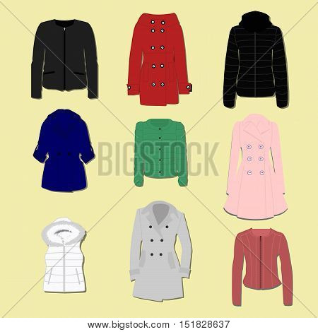 collection of fashionable women's jackets and coats and outerwear. The template for store or sale. Vector illustration