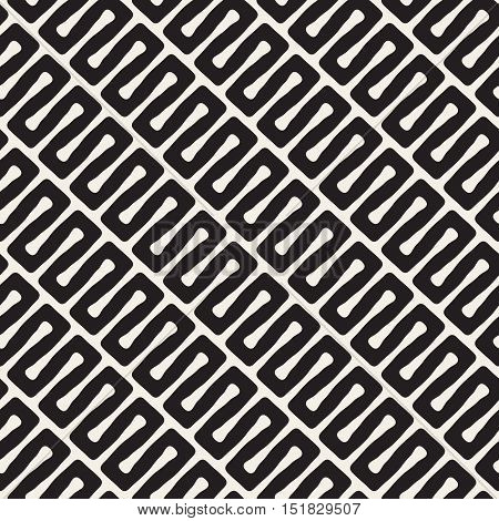 Vector Seamless Diagonal Black and White Wavy Lines Pattern. Abstract Geometric Background Design