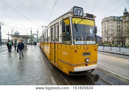 Famous Yellow Tram In Budapest, Hungary.