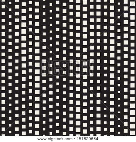 Vector Seamless Diagonal Black and White Halftone Square Lines Pattern. Abstract Geometric Background Design