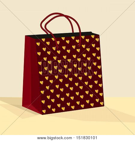 Shopping bag Gift bag. Flat illustration of bag vector.