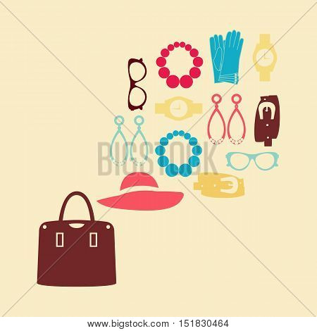 Flat design concept of fashion look and trendy accessories
