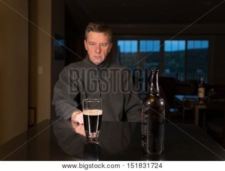 Senior Caucasian Adult Man With Depression