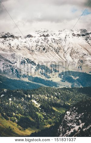 Mountains and Forest beautiful Landscape Travel scenic aerial view cloudy moody weather