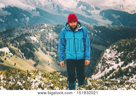 Man bearded hiking alone Travel Lifestyle aerial view mountains landscape adventure survival concept outdoor aerial view